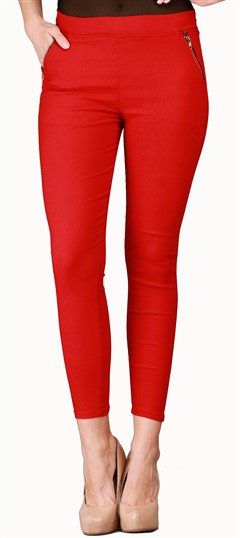 600534 Red and Maroon  color family Jeggings in Cotton, Lycra fabric with Thread work .