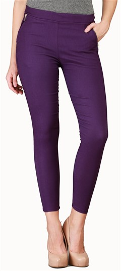 600535 Purple and Violet  color family Jeggings in Cotton, Lycra fabric with Thread work .