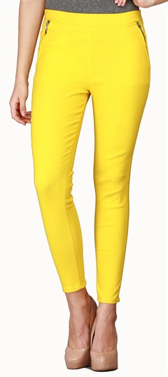 600536 Yellow  color family Jeggings in Cotton, Lycra fabric with Thread work .