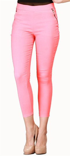 600537 Pink and Majenta  color family Jeggings in Cotton, Lycra fabric with Thread work .