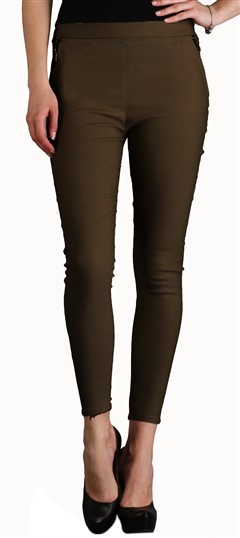 600539 Beige and Brown  color family Jeggings in Cotton, Lycra fabric with Thread work .