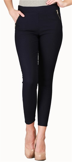 600540 Blue  color family Jeggings in Cotton, Lycra fabric with Thread work .