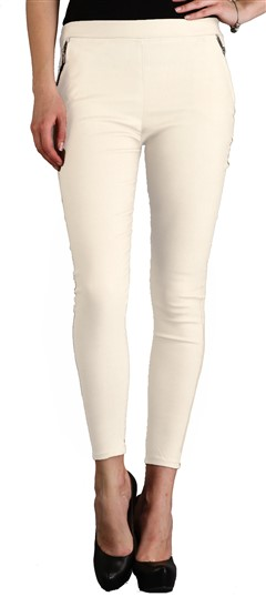 600541 White and Off White  color family Jeggings in Cotton,Lycra fabric with Thread work .