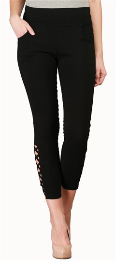 600542 Black and Grey  color family Jeggings in Cotton, Lycra fabric with Thread work .