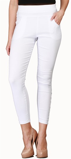 600543 White and Off White  color family Jeggings in Cotton, Lycra fabric with Thread work .