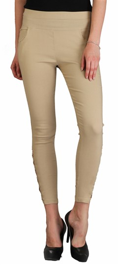 600544 Beige and Brown  color family Jeggings in Cotton,Lycra fabric with Thread work .
