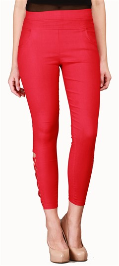 600545 Red and Maroon  color family Jeggings in Cotton, Lycra fabric with Thread work .