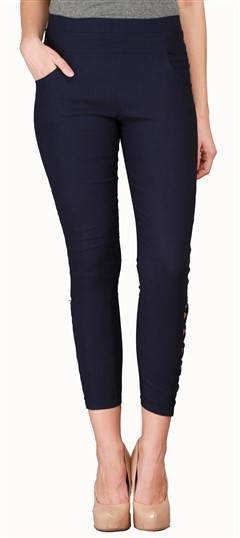 600547 Black and Grey  color family Jeggings in Cotton, Lycra fabric with Thread work .