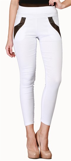 600548 White and Off White  color family Jeggings in Cotton, Lycra fabric with Thread work .