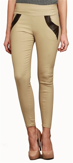600549 Beige and Brown  color family Jeggings in Cotton, Lycra fabric with Thread work .