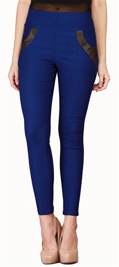600551 Blue  color family Jeggings in Cotton, Lycra fabric with Thread work .