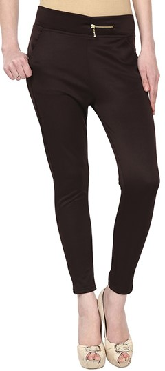 600554 Beige and Brown  color family Jeggings in Cotton, Lycra fabric with Thread work .
