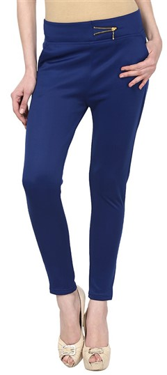 600555 Blue  color family Jeggings in Cotton, Lycra fabric with Thread work .