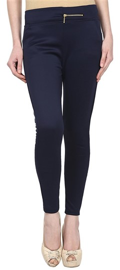 600556 Blue  color family Jeggings in Cotton, Lycra fabric with Thread work .