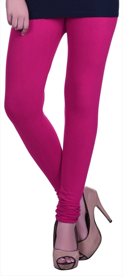 600599 Pink and Majenta  color family leggings in Lycra fabric with Thread work .