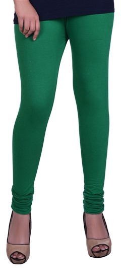 600600 Green  color family leggings in Lycra fabric with Thread work .