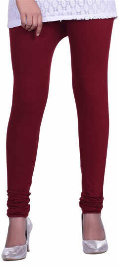 600601 Red and Maroon  color family leggings in Lycra fabric with Thread work .