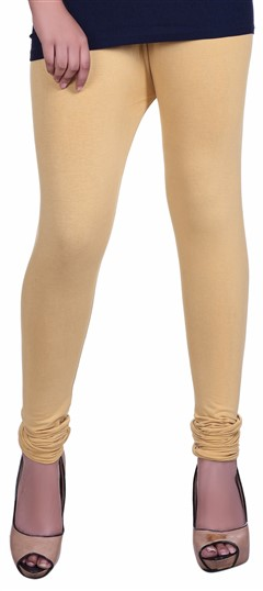 600603 Beige and Brown  color family leggings in Lycra fabric with Thread work .