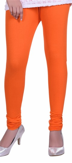 600604 Orange  color family leggings in Lycra fabric with Thread work .