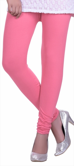 600605 Pink and Majenta  color family leggings in Lycra fabric with Thread work .