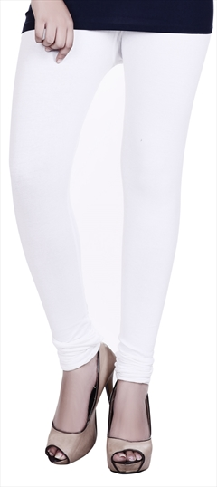 600609 White and Off White  color family leggings in Lycra fabric with Thread work .