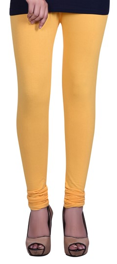 600610 Yellow  color family leggings in Lycra fabric with Thread work .