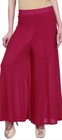 600690 Red and Maroon  color family Palazzo in Satin fabric with Thread work .