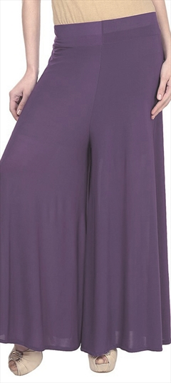 600693 Purple and Violet  color family Palazzo in Satin fabric with Thread work .