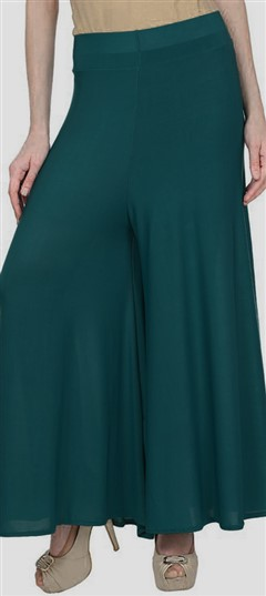 600694 Green  color family Palazzo in Satin fabric with Thread work .