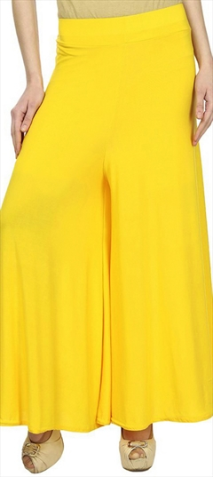 600695 Yellow  color family Palazzo in Satin fabric with Thread work .