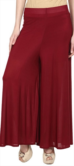 600696 Red and Maroon  color family Palazzo in Satin fabric with Thread work .