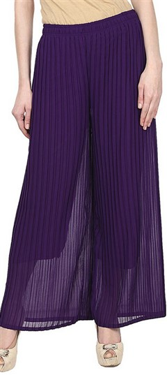 600705 Purple and Violet  color family Palazzo in Georgette fabric with Thread work .