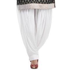 600811 White and Off White  color family Patiala in Lycra fabric with Thread work .