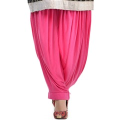 600813 Pink and Majenta  color family Patiala in Lycra fabric with Thread work .