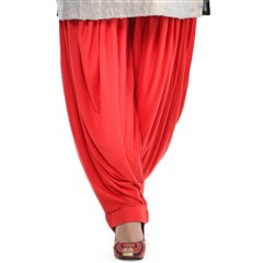 600814 Red and Maroon  color family Patiala in Lycra fabric with Thread work .