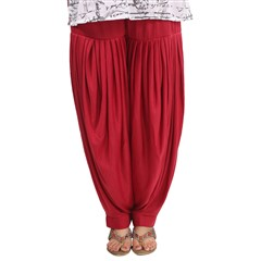 600815 Red and Maroon  color family Patiala in Lycra fabric with Thread work .