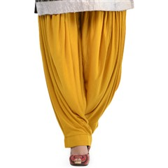 600818 Yellow  color family Patiala in Lycra fabric with Thread work .