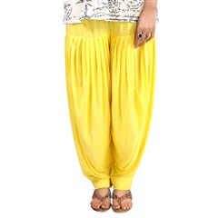 600820 Yellow  color family Patiala in Lycra fabric with Thread work .