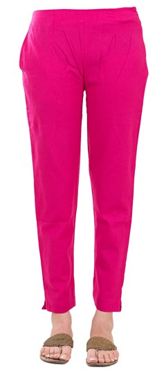 600834 Pink and Majenta  color family Jeggings in Rayon fabric with Thread work .