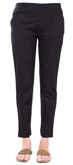 600838 Black and Grey  color family Jeggings in Rayon fabric with Thread work .