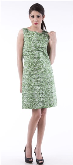 650004 Green  color family dress in Cotton fabric with Printed work .