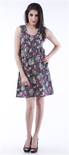 650006 Black and Grey  color family dress in Cotton fabric with Printed work .