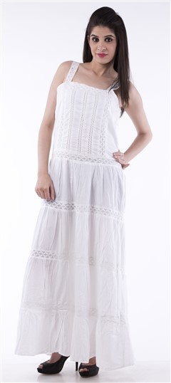 650011 White and Off White  color family dress in Cotton fabric with Thread work .
