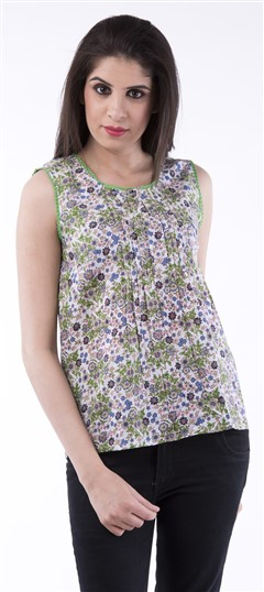 650013, Tops & Shirts, Cotton, Floral, Printed, Multicolor Color Family