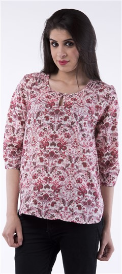 650015 Multicolor  color family Tops & Shirts in Cotton fabric with Floral,Printed work .