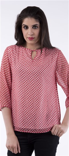 650017 Red and Maroon  color family Tops & Shirts in Georgette fabric with Printed work .