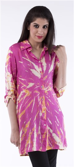650021, Tops & Shirts, Cotton, Printed, Pink and Majenta Color Family