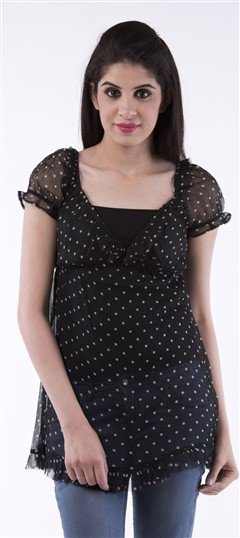 650026, Tops & Shirts, Georgette, Printed, Black and Grey Color Family