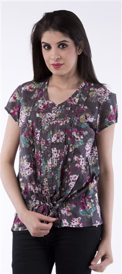 650037, Tops & Shirts, Cotton, Floral, Printed, Multicolor Color Family