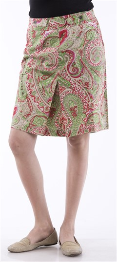 650041 Green,Red and Maroon  color family skirt in Cotton fabric with Printed work .